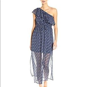 Lucky Brand Blue Geo One Shoulder Maxi Dress XS